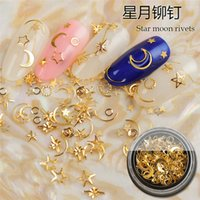 Nail Art Decoration Flash 3D Metal Gold Moon Star gel polish Colorful Diamonds Crystal Rhinestone Small Ball Bead Design Accessories Tools