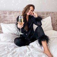 Women's Two Piece Pants Women Pajama Sets Feather Long Sleeve Tops+long 2 Set Sleepwear Pijamas De Mujer Home Suit For