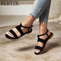 Sandals Woman Flat Slippers Casual Buckle Round Toe Shoes High Quality Women Summer 2021 Wholesale