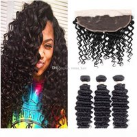 Peruvian Virgin Human Hair Extensions 3 Bundles With 13X4 Lace Frontal Hair Weaves Frontal Deep Wave Curly Hair Bundles With Frontal