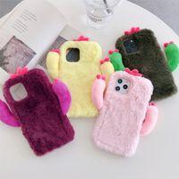 Pure Color Cactus Plüschtelefonfälle für iPhone 12 11 Pro Promax X xs max 7 8 plus