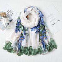 Scarves 2021 Spring Satin Long Towel Oil Painting Vase Printing Imitation Silk Scarf Female Green Customized Wholesale