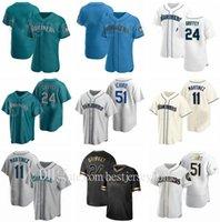 야구 11 Edgar Martinez 51 24 Ken Griffey Jersey Suzuki Ichiro 34 Felix Hernandez 13 Alex Rodriguez Cooperstown FlexBase 컬러 맨 여성