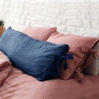 Caso de travesseiro MCAO 100% Capa de corpo de linho lavado macio lavado fricano longos fronhas longas com laço cordas fechamento luxuoso cama confortável TJ6448