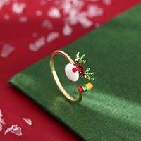 크리스마스 엘크 링 여성 럭셔리 링 링 링 링 링 링 조절 가능한 크리스마스 엘크 링 여성 고급 반지 디자인