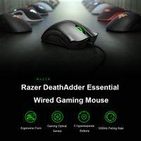 Gaming Wired Mouse DeathAdder Razer Razer V2 Essencial 6400dpi Ergonômico Sensor óptico de grau profissional para computador portátil