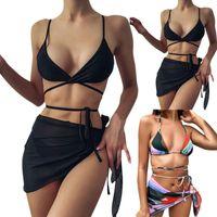 Women's Swimwear Black 3 Pieces Sexy Bikinis Set High Waist Female Swimsuit Cover-ups For Women Skirts Bikini Halter Bathing Suit 2021