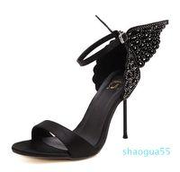 Sophia Webster Evangeline Angel-wing High Heel Sandal New Butterfly Rhinestone Studded Leather Sandals With Fine Heel Sandals S