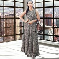 Ethnic Clothing 2021 Est Print Dresses For Women Sexy Sleeveless O-neck Daily Casual Africaine Femme Robe Vintage Fashion Ladies Clothes