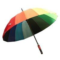 Umbrellas 16K Creative Polyester Cloth Rainbow Umbrella Long Handle Automatic Straight Advertising Beach Windproof And Rainproof