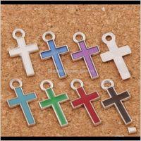 Findings & Components Jewelrysier Enamel Cross Alloy Charms 400Pcs Lot Pendants 7Colors 8X15Mm Fashion Jewelry Diy Fit Bracelets Necklace Ear