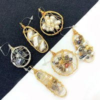 Charms 1pcs Natural Baroque Pearl Pendant Crystal Irregular Shape Hand-wound Copper Wire DIY Making Necklace Bracelet Accessories