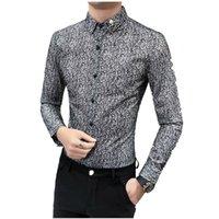 Önermeyenler Kaliteli Smokin Gömlek Turn Down Yaka Uzun Kollu İş Resmi Erkek Elbise Gömlek Katı Erkek Üst Bluz