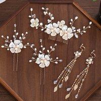 Forseven Braut Hochzeitszubehör Blume Blatt Kristall Perlen Kämme Haarnadeln Ohrringe Dekor Schmuck Geschenksets