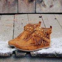 Boots 2021 Fashion Bohemian Ankle Boot Ethnic Women Tassel Fringe Faux Suede Leather Flat Heel Short Booties Plus Size 48 9701
