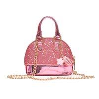 Baby Girls Sequin Messenger Bag PU Couro PU 2020 Dos Desenhos Animados Cute Kids Mini Shell Bolsa De Ombro Boutique Moeda Bolsa Borla Pingente Bolsa 676 Y2