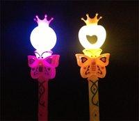 Wholesale- Novelty Kids Light Flashing Princess Fairy Magic Wand Sticks Girls Party Favor Cheer Supplies 1977 V2