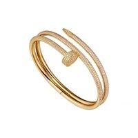 Nagelarmband 2.0 Mens Armbänder Diamanten Designer Bangle Luxus Schmuck Frauen Titanium Stahl Legierung vergoldetes Handwerk Gold Silber Rose nie verblassen Nicht allergisch