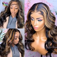 Lace Wigs Ombre Highlight Body Wave 13x1 T Part Wig Baby Hair Human For Black Women Remy Swiss