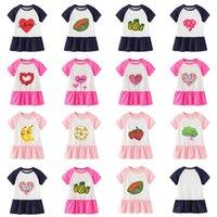 ins Tik Tok Baby Girls Dresses 2021 여름 새로운 치마 소녀 만화 사랑 과일 짧은 소매 캐주얼 드레스 어린이 공주 스커트 긴 티셔츠 드레스 GG62CDVU