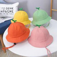 Solid Color Baby Hat Cartoon Little Grass Kids Bucket Hat Summer Breathable Cotton Children Fisherman Cap