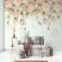 Wallpapers Custom Size Hand-painted Oil Paint Rose Flower Butterfly Mural 3d Wall Paper Home Decor Bedroom Floral Self-adhesive Wallpaper