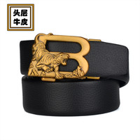 Personalized Bronze Letter b Tiger Auto Button Top Men's Style Business Leather Belt