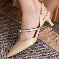 샌들 여성 정품 가죽 얇은 하이힐 지적 발가락 슬립 온 펌프 우아한 숙녀 Sryctal EveningDress 슬린 일일 신발 판매