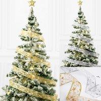 50 LED 5M Fairy Lights Strings Christmas Ribbon Bows With LED Christmas Tree Ornaments New Year Navidad Party Decor NHE10663