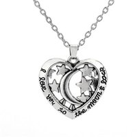Pendant Necklaces Heart Necklace For Women Men Moon And Stars Pattern With Special Runes Link Chain Zinc Alloy Provide Drop