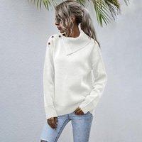 Sople Lapel Pullover suéter Caída / Invierno 2021 Botón de cinturón de hombro casual de las mujeres Medio collar abierto suéteres de punto
