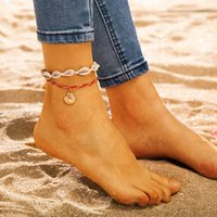 Anklets For Women Red Rope Shell Foot Jewelry Beach Barefoot Bracelet Ankle On Leg Strap Bohemian