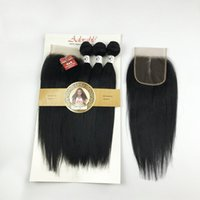 Animal Mixed Synthetic Bundl with 4*4 Lace Closure Silk Straight Packet Weav,Adorable Natural Hu Hair Blend 3+1