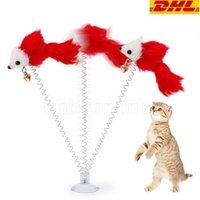 Atacado 2021 Ratos de primavera de balanço engraçado com ventosa copo peludo gato cores coloridas tails rato brinquedo para gatos pequenos brinquedos de animais fofos