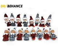 Christmas Plaid Baby Elf Doll w plaidach Odzież ze stópami Buty Babys elfy Lalki Lekkie skóry ciemne skórki zabawki