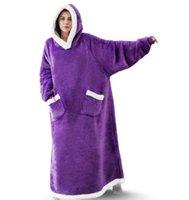 Super Long Flannel Blanket With Sleeves Winter Hoodies Sweatshirt Women Men Pullover Fleece Giant TV Oversized WF032 ottie