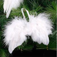 الأبيض ريشة الجناح جميل شيك أنجيل شجرة عيد الميلاد الديكور شنقا حلية المنزل حزب الزفاف الحلي عيد الميلاد 1044 B3