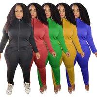 Women fall winter clothing Plus Size Tracksuits 3XL 4XL 5XL Long Sleeve Sweatsuits Zipper Jacket+pants Two Piece Set Solid bigger sizes