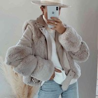 Women's Leather & Faux Sheepskin Coat Women Thick Fur Long Jacket Motorcycle Winter Overcoats
