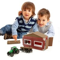 Kidewan 23 Pcs Logging Farm Playset Crianças Brinquedo DIY Montado Com Trator Modelo De Edifício de Modelo