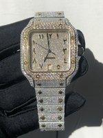 Лучшие высококачественные часы Missfox мужская квадратная роскошь полный ледяной серебряный золотой моисанит / хрустальный Zircon алмазная коробка бумага