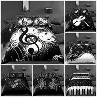スタイル3Dデジタル音楽印刷100%ポリエステル寝具セット1羽毛カバー+ 1/2ピローケースの袋米国/ EU / AUSIZEセット
