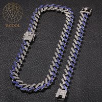 Hip Hop 15MM Bling Iced Out Cuban Paved Rhinestone Miami Zircon Men's Necklaces Bracelet Set For Men Jewelry 8 16 18 24in VP927 Chains