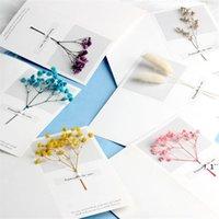 بطاقات المعايدة الزهور الجبسوفيلا الزهور المجففة بخط اليد نعمة تحية بطاقة هدية عيد ميلاد بطاقة دعوات الزفاف EWA5022