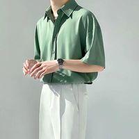 Men's Tracksuits Summer Men Suit Leisure Korean Loose Light Ruffian Handsome 2 Piece Set Vertical Feeling Camouflage Mens Clothing Shirt Tac