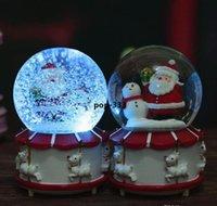 Музыка игрушка Santa Claus Crystal Ball Рождественские огни Вращающиеся Снежная коробка подарков Детские игрушки