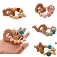 DIY bebê molares brinquedo blocos de construção animal pulseira log natural não tóxico grânulos crochet lã grânulos pulseira bebê madeira teether hwe8864