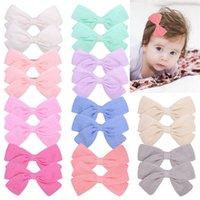 Moda más reciente 20 colores de algodón orgánico bebé niños niñas Barrettes Bowknot horquillas para niños clips de pelo arcos de pelo accesorios para el cabello 779 Q2