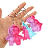 Fidget 감압 장난감 만화 실리콘 크리스마스 장난감 트리 모양 거품 키 반지 아이들 키 체인