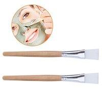 2pcs 나무 손잡이 얼굴 마스크 브러시 안마 또는 DIY가 필요한 메이크업 브러쉬